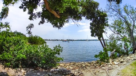 The yachts at boat marina and waterfront in Naples, Florida at USA