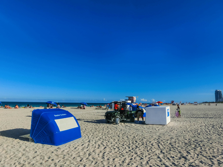 Miami, Usa - May 07,2018: The people resting at South Beach Miami Florida. It is world famous travel location