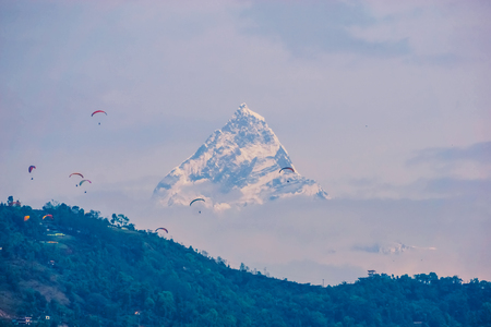 Evening view of Ama Dablam on the way to Everest Base Camp. Nepal Stock Photo