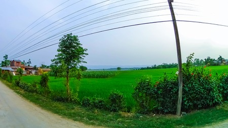 The Agricultural fields with village in Annapurna area, Nepal.