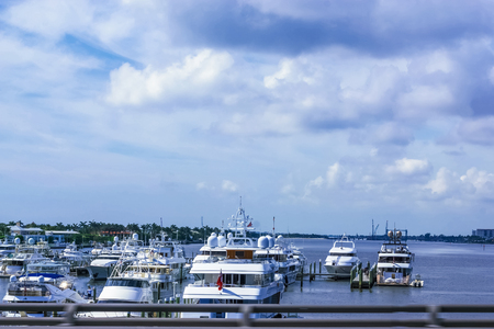 Yachts at West Palm Beach, Florida. The view from bridge