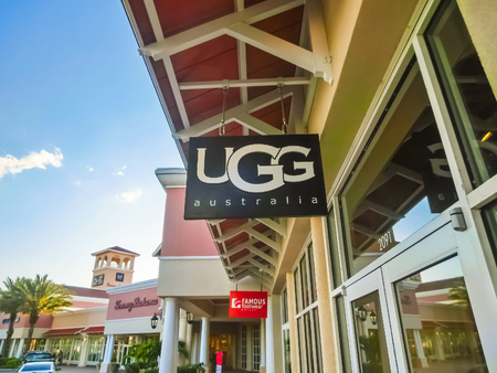 Orlando, USA - May 8, 2018: UGG Australia store at store in shopping mall Orlando premium outlet at Orlando, USA on May 8, 2018. UGG is an American footwear company and a division of Deckers Brands founded in 1978 by Brian Smith store. Editorial