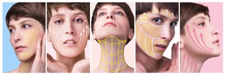 Das junge weibliche Gesicht. Anti-Aging- und Fadenlifting-Konzept. Collage. Porträt der jungen kaukasischen Frau im Studio lokalisiert auf Pastell. Kurzer Haarschnitt, langer Hals, perfekte Haut