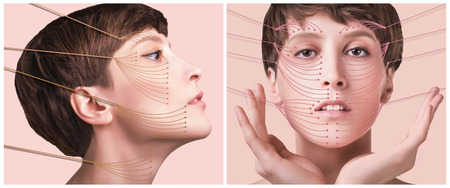 The young female face. Antiaging and thread lifting concept. Collage. Portrait of young caucasian woman at studio isolated on pastel. Short haircut, long neck, perfect skin Stock Photo