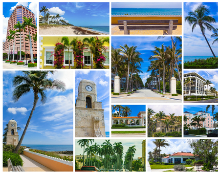 Collage about West Palm Beach, Florida, USA. The clock tower on Worth Avenue and the center of town at United States Stockfoto