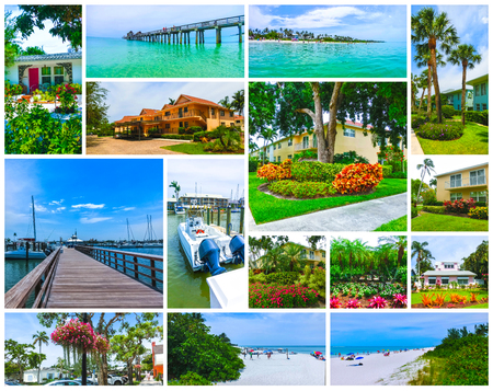 Collage about beach and buildings at Naples, Florida at USA