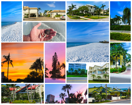 The collage about Siesta key beach with white sand. Stockfoto