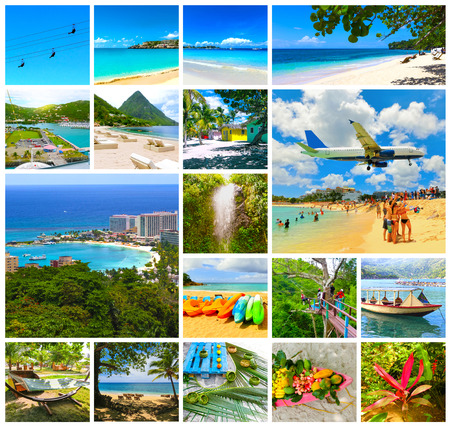 Collage from views of the Caribbean beaches of Saint Martin, Lucia, Dominicana. Happy Caribbean cruise concept