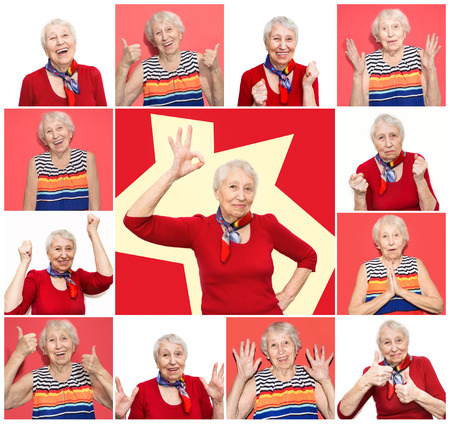 The collage from different emotions of senior woman. Old Woman with surprised expression on her face on white studio background. Human emotions concept. Positive emotional old lady standing indoor