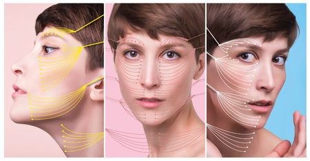 The young female face. Antiaging and thread lifting concept. Collage. Portrait of young caucasian woman at studio isolated on pastel. Short haircut, long neck, perfect skin Stockfoto