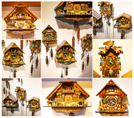 The lot of swiss wooden clocks. Collage Stock Photo