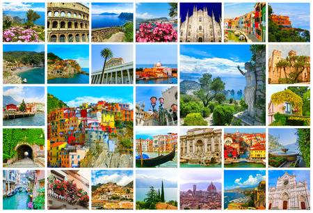 Collage of major Italian travel destinations from photos of Italy. The landscapes of Garda Lake, Venice, Capri island, of Manarola at Cinque Terre, Venice, Rome, Florence, Burano, Sorrento Stock Photo