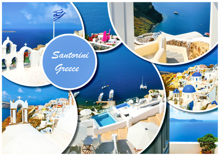 Set of different Santorini photos. Rest and traveling in Greece concept. Collage