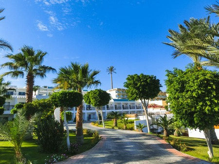 Sharm El Sheikh, Egypt - December 31, 2018:Tropical luxury Sultan Gardens Resort on Red Sea beach. Palm trees and other landscaped trees on the background of a hotel buildings in Egypt, Sharm el-Sheikh