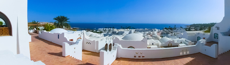 Sharm El Sheikh, Egypt - January 03, 2019: Domina Coral Bay 5 star complex consists of nine hotels, beach length of 2 km, a casino, shops.