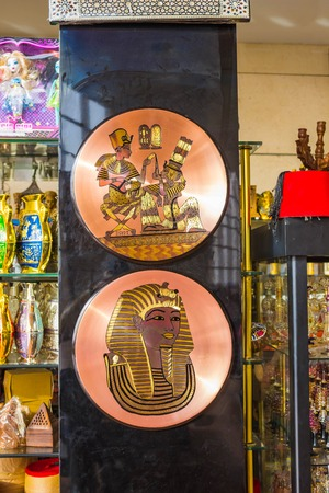 Sharm El Sheikh, Egypt - January 06, 2019: Various arabic antique objects displayed in an souvenir shop at Sharm El Sheikh, Egypt on January 06, 2019