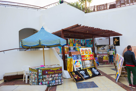 Sharm El Sheikh, Egypt - January 05, 2019: The souvenir shop at Sultan Gardens Resort at Sharm El Sheikh.