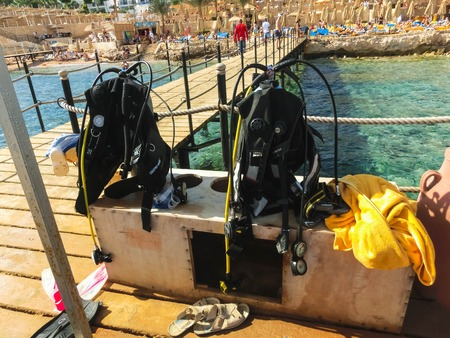 Sharm El Sheikh, Egypt - December 31, 2018: Scuba diver dive equipment at the beach of red sea at Sharm El Sheikh, Egypt on December 31, 2018