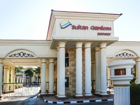 Sharm El Sheikh, Egypt - January 05, 2019: The main entrance at Sultan Gardens Resort at Sharm El Sheikh, Egypt on January 05, 2019 Redactioneel