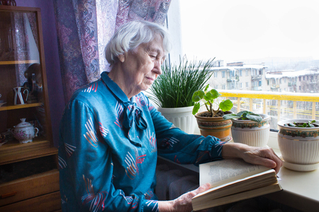 Senior woman at home reading book at home Stockfoto - 118000952