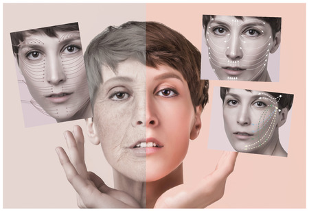 Anti-aging, beauty treatment, aging and youth, lifting, skincare, plastic surgery concept. Beautiful girl with young face and half face of old woman with wrinkles