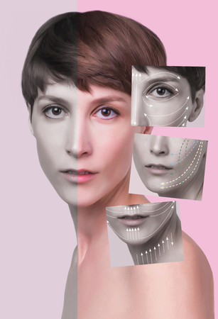 Young female with clean fresh skin. Beautiful woman. Female face and neck. Portrait of young caucasian woman at studio isolated on pastel. Short haircut, long neck, perfect skin. Lifting by gold thread concept
