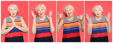 Collage of middle age senior woman over red background. Crazy and surprised of shock with open mouth female old model Stockfoto - 121270401