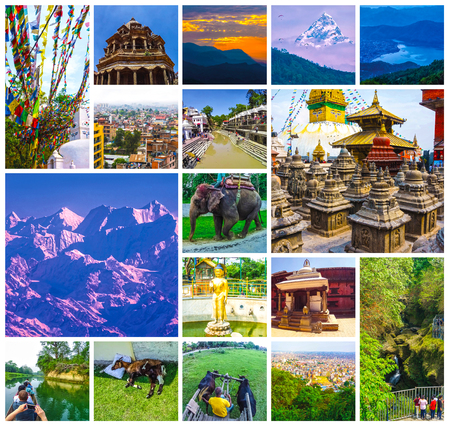 Collage of popular Nepalese travel destinations - Kathmandu valley and Himalaya mountains. Begnas Tal, Nepal with the Annapurna Himalaya visible in the background at sunset Stockfoto - 121271017