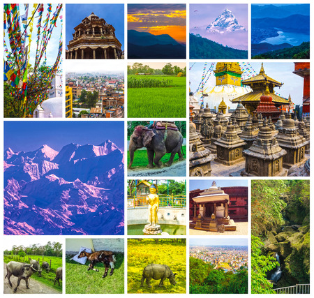 Collage of popular Nepalese travel destinations - Kathmandu valley and Himalaya mountains. Begnas Tal, Nepal with the Annapurna Himalaya visible in the background at sunset Stockfoto - 121271040