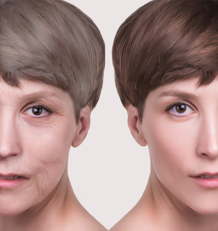 Anti-aging, beauty treatment, aging and youth, lifting, skincare, plastic surgery concept. Stockfoto