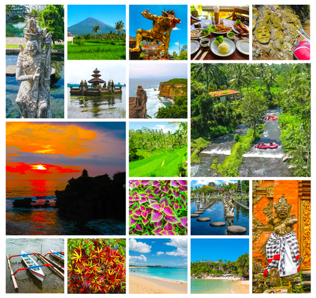 The collage on the theme of Bali, Indonesia Stockfoto