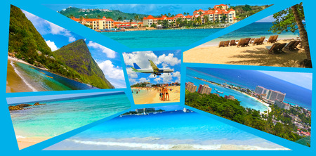 Collage from views of the Caribbean beaches Stockfoto - 122182044