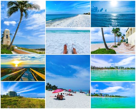 Collage about beachs at USA Stock fotó
