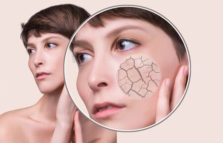 concept of cosmetic effects, treatment and skin care.