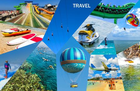 Travel activity - Collage from views of the Caribbean beaches - Boat trip snorkeling in exotic scenarios