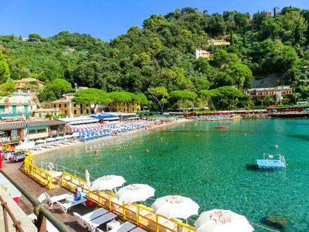 beach known as paraggi near portofino in genoa on a blue sky and sea background Stock Photo