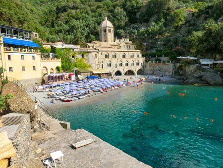 San Fruttuoso abbey in Camogli, Liguria, Italy