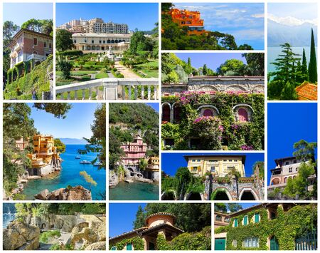 Collage about beautiful villas or colorful houses at Italy