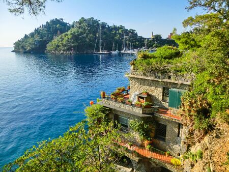Seaside villas near Portofino in Italy at summer. Liguria