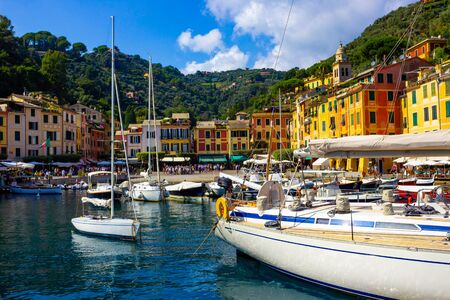 Beautiful bay with colorful houses in Portofino, Liguria, Italy Stock fotó