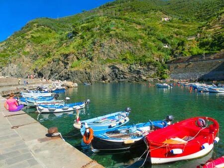 Vernazza Bay With Colorful Boats - Cinque Terre, La Spezia Province, Liguria Region, Italy, Europe