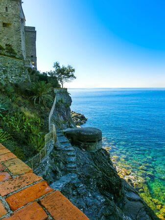 Stone fortifications of Monterosso al Mare, a small town in province La Spezia, Liguria, Italy.
