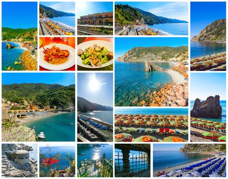 Panorama de la playa de Monterosso al Mare, en temporada de verano, un pueblo costero y resort en Cinque Terre, Liguria, Italia.