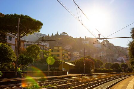 Small train station at Santa Margherita-Ligure town, Italy