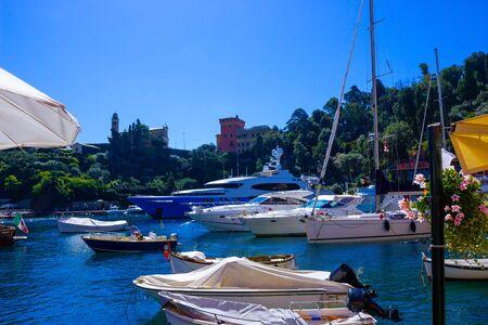 Beautiful bay with flowers in Portofino, Liguria, Italy