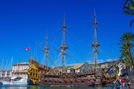 GENOA, ITALY - September 11, 2019: Galeone Neptune pirate ship in Genoa Porto Antico, Italy. Editorial