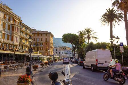 Rapallo, Italy - September 17, 2019: The building facade in Rapallo, Italy