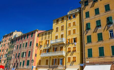 Colorful buildings at Camogli on sunny summer day, Liguria
