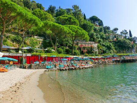 Portofino, Italy - September 16, 2019: beach known as paraggi near portofino in genoa Editorial