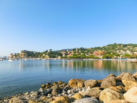 Travel view of town Rapallo at Italy